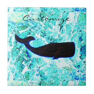 underwater whale swimming Thunder_Cove Small Square Tile