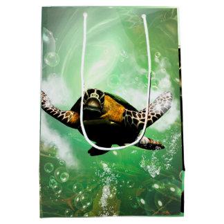 Underwater world with seaturtle medium gift bag