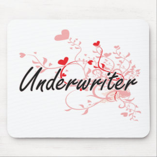 Underwriter Artistic Job Design with Hearts Mouse Pad