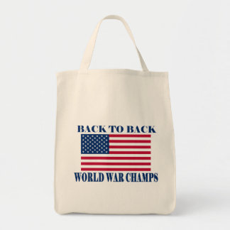 Undisputed World War Champions, American Flag Grocery Tote Bag