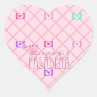 Une jeune fille de PASADENA Heart Stickers