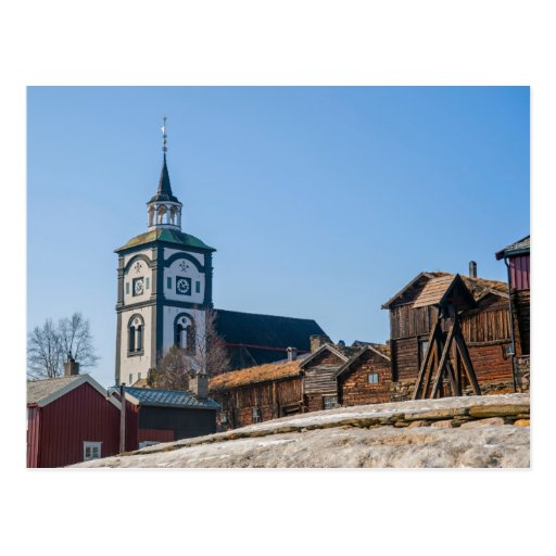 UNESCO site Roros, Norway. Church and old houses. Postcards