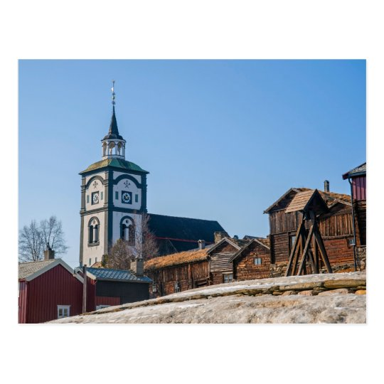 UNESCO site Roros, Norway. Church and old houses. Postcard