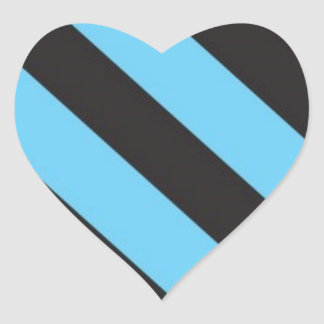 Uneven Blue and Black Stripes Heart Sticker
