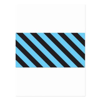 Uneven Blue and Black Stripes Postcard