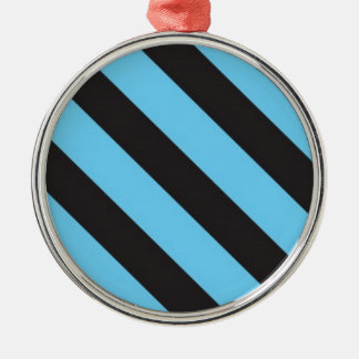 Uneven Blue and Black Stripes Silver-Colored Round Decoration