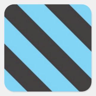 Uneven Blue and Black Stripes Square Sticker