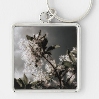 Uneven Silver-Colored Square Key Ring