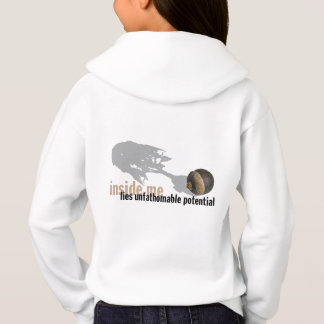 """""""unfathomable potential"""" Girls' HOODIE backprint"""