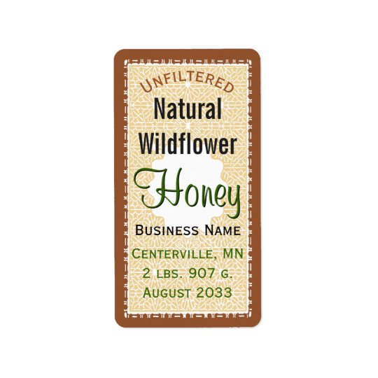 Unfiltered Natural WIldflower Honey Jar Address Label