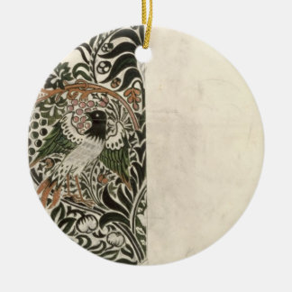 Unfinished 'Bird and Vine' wood block design for w Christmas Ornament