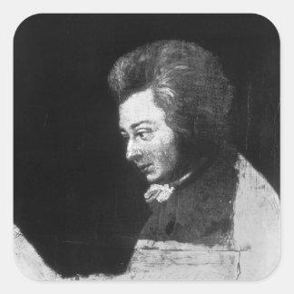 Unfinished Portrait of Wolfgang Amadeus Mozart Square Sticker