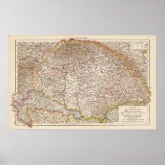 Ungarn, Hungary Atlas Map Poster
