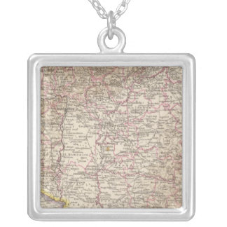 Ungarn, Hungary Atlas Map Silver Plated Necklace