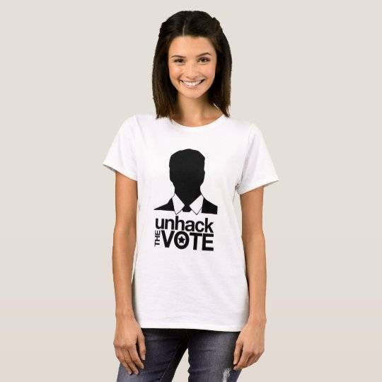 Unhack the Vote T-shirt - @mikefarb1 on the Back