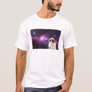 Unhappy cat in Space T-Shirt
