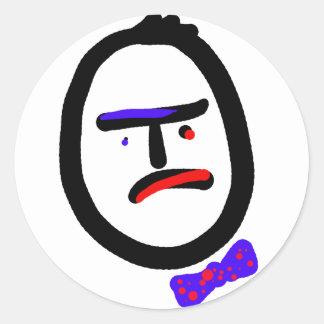 Unhappy coworker with bowtie round sticker