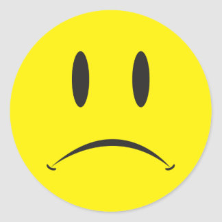 Unhappy Face Round Sticker