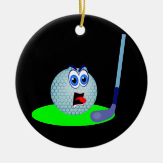 Unhappy Golf Ball T-shirts and Gifts Round Ceramic Decoration