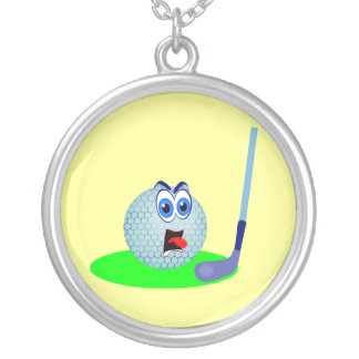 Unhappy Golf Ball T-shirts and Gifts Silver Plated Necklace