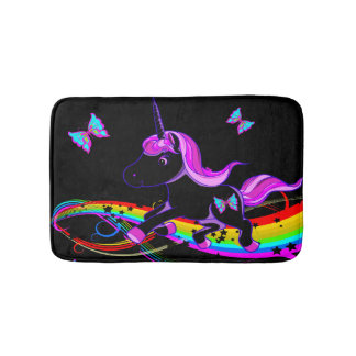 Uni Rainbow Black Bath Mat