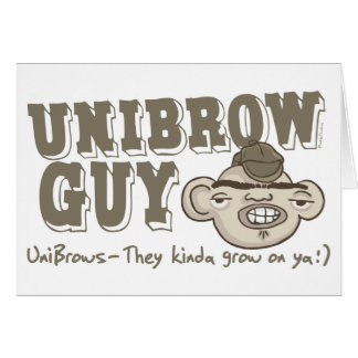Unibrow Guy with Hat Greeting Card