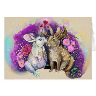 Unibunny Kisses Jackalope Magical Love Card