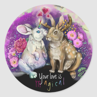Unibunny Kisses Jackalope Magical Love Classic Round Sticker