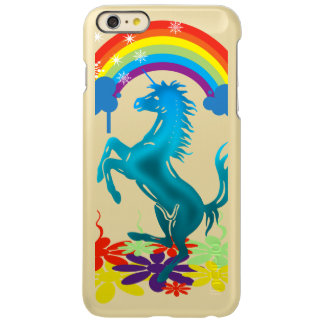 Unicorn 1 cyan with rainbow flowers