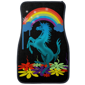 Unicorn 1 cyan with rainbow flowers car mat
