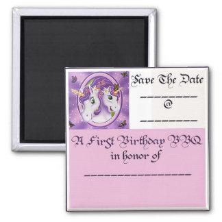 Unicorn 1st Birthday BBQ Square Magnet