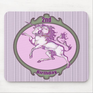 Unicorn 2nd Birthday Gifts Mouse Pad