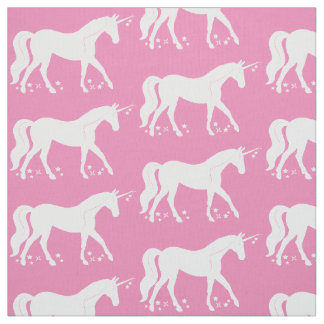 Unicorn Among the Stars in Silhouette Fabric