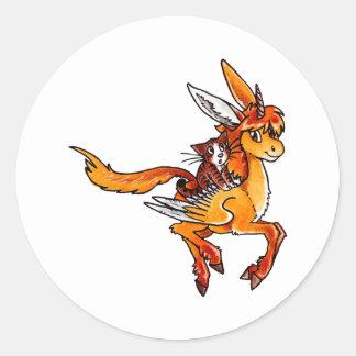 Unicorn and Cat Round Sticker