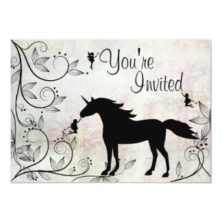 Unicorn and Fairies Magical Birthday Invitation