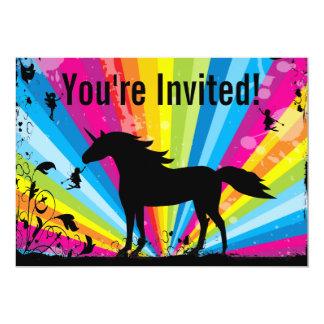 Unicorn and Fairies Rainbow Fairy Birthday Party 13 Cm X 18 Cm Invitation Card