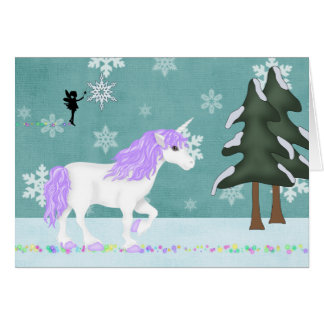 Unicorn and Fairy Winter Holiday Greeting Card