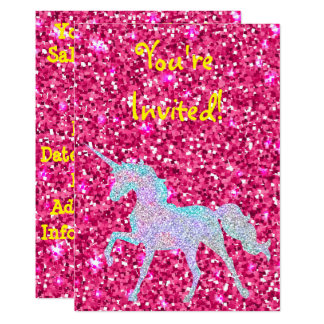 Unicorn And Glitter Party Invitation W/ Envelopes
