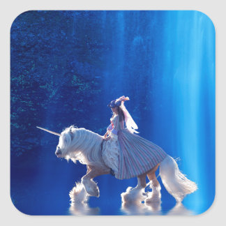 Unicorn and his mistress square stickers