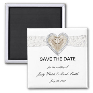 Unicorn And Lace Save The Date Magnet