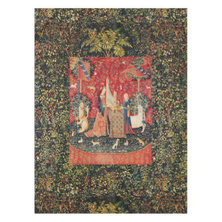 UNICORN AND LADY PLAYING ORGAN,ANIMALS Red Green Tablecloth