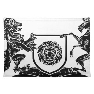 Unicorn and Lion Heraldic Coat of Arms Crest Placemat