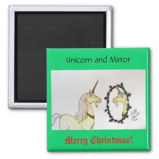 Unicorn and Mirror Square Magnet