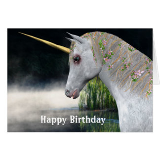 Unicorn And Mist Fantasy Birthday Card