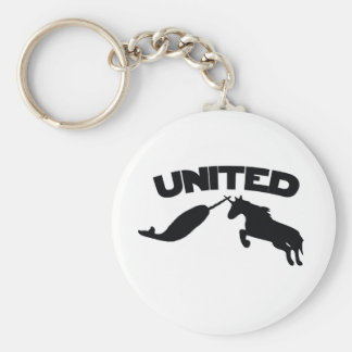 Unicorn and Narwhal Basic Round Button Key Ring