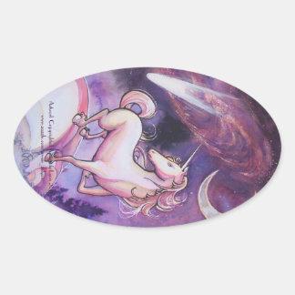 Unicorn and Night Sky Oval Sticker