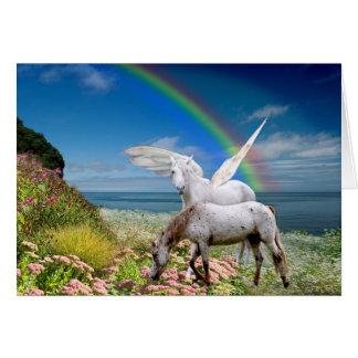 Unicorn and Pegasus Birthday card