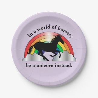 Unicorn and Rainbow Be A Unicorn Birthday Paper Plate