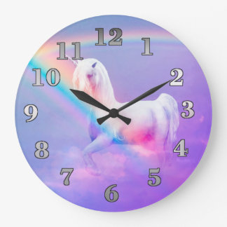 Unicorn and Rainbow Large Clock