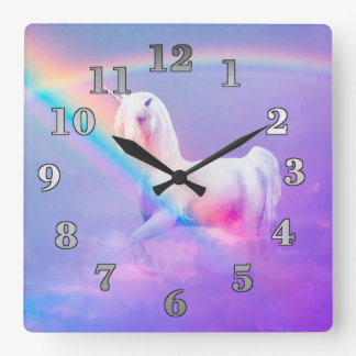 Unicorn and Rainbow Square Wall Clock